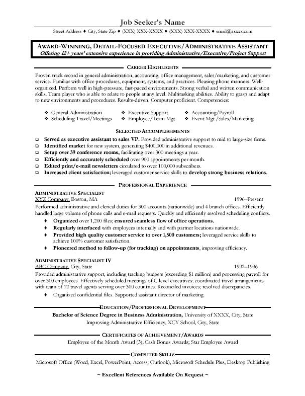 administrative assistant cover letter examples for resume