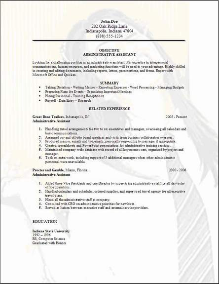 administrative assistant resume exles 2012