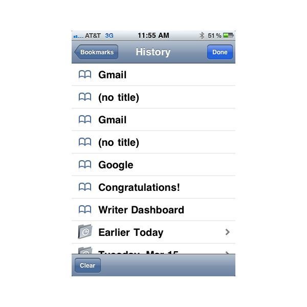 Clear search history iphone google - 29.8KB