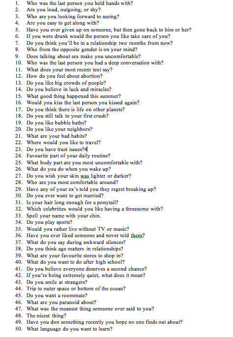 100 Relationship Questions to Ask a Guy