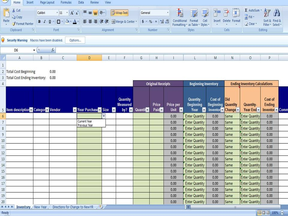 excel spreadsheet templates inventory