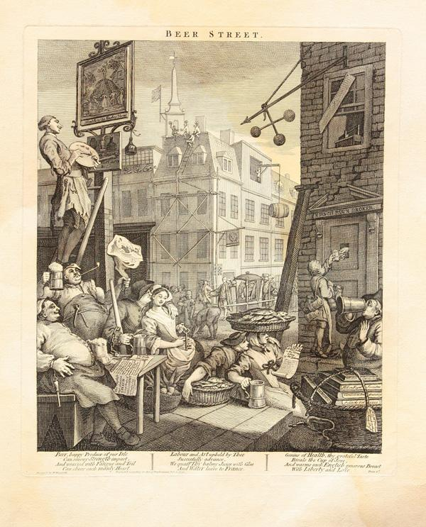 william hogarths beer street and gin Gin lane, 1751 the giclee process produces a superior quality, fine art  reproduction  hogarth engraved beer street to show a happy city drinking the ' good'.