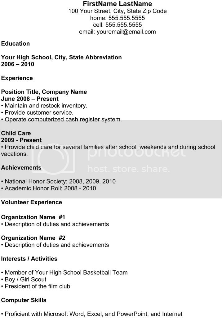 job resume examples for highschool students