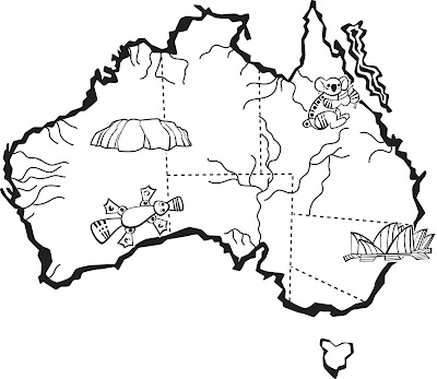 Naidoc Colouring Pages Australia Map Coloring Page