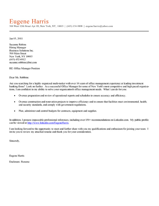 Health Administration Cover Letter