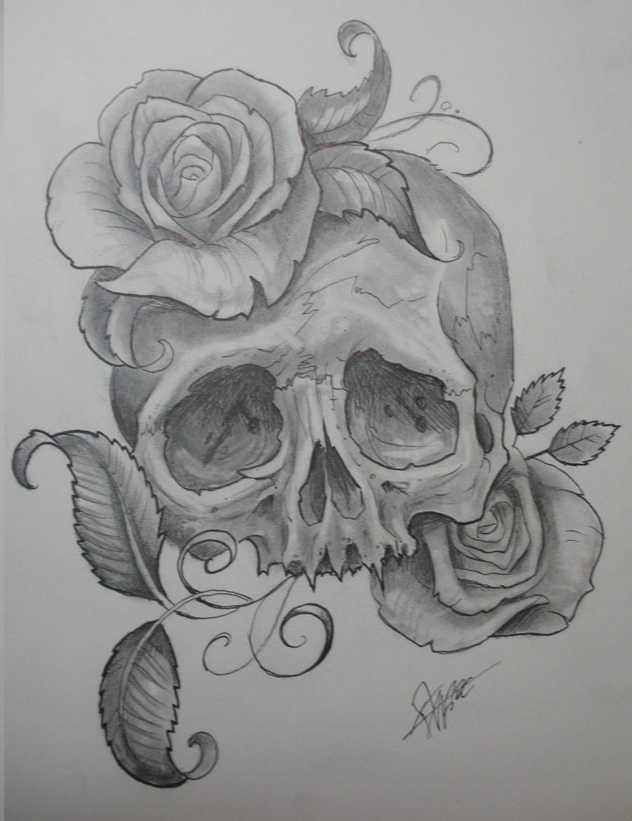 pencil sketches of roses and skulls