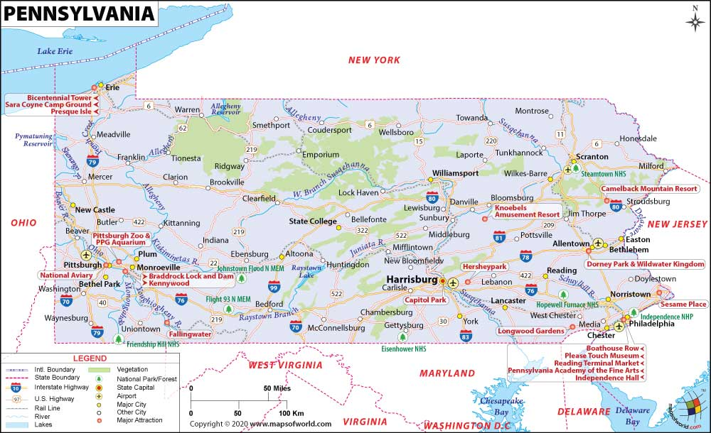 Pennsylvania Map With Cities Listed Pictures To Pin On