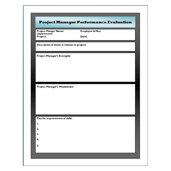 employee performance review short form templates