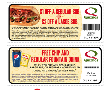 Find the big quiznos promo code for October at goodellsfirstchain.tk Don't pay more than you have to with this awesome coupon code from quiznos, you can save up to 60% on thousands of products. Best Quiznos Buy One Get One for you tody: get 60% off with our discount codes for October
