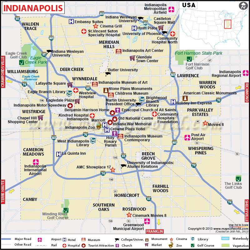 Road Map Of Indianapolis
